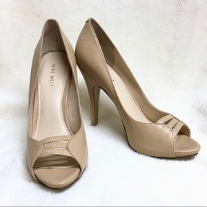 Nine West Nude Peep Toe Pumps
